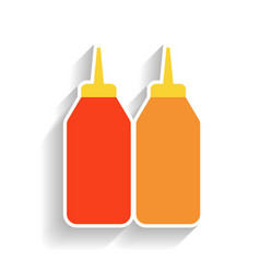 Bottles of mustard and ketchup flat color icon vector