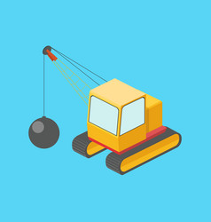 Building destruction machine isometric vector