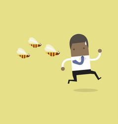 businessman running away from dangerous insects vector image