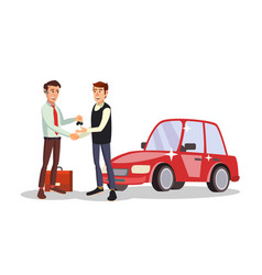 Car dealer man automobile sales agent vector