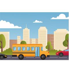 Cars driving city street panorama urban road flat vector