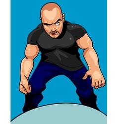 Cartoon aggressive man looking sullenly vector
