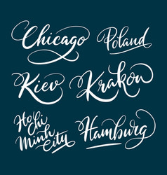 Chicago and hamburg hand written typography vector