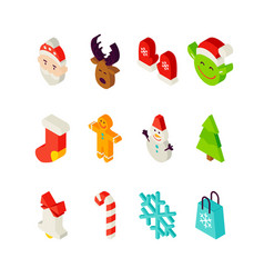 christmas isometric set vector image