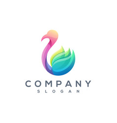 colorful swan logo vector image