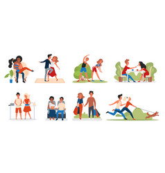 Couple people spend time together set happy man vector