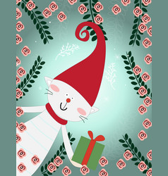 cute cat merry christmas celebrated card vector image