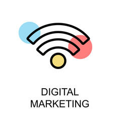 Digital marketing icon and wifi icon on white vector