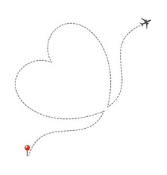 dotted heart airplane route vector image