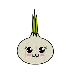 Emblem kawaii happy onion vegetable icon vector