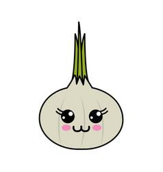 Emblem kawaii happy onion vegetable icon vector