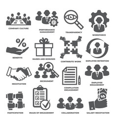 Engagement icons set on white background vector