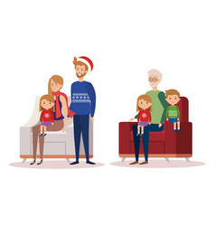 Family in livingroom with christmas decoration vector