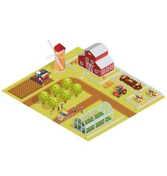 Farm Isometric Template vector image