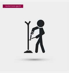 farmer saws wood icon simple gardening element vector image