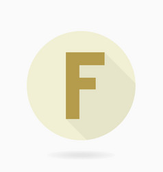 Fine flat icon with letter f vector