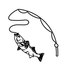 fishing like icon doodle hand drawn or outline vector image