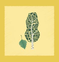 flat shading style plant betula vector image