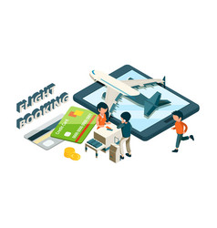 Flight booking buying tickets online isometric vector