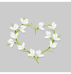 Floral heart with snowdrops vector