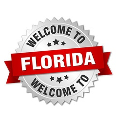 Florida 3d silver badge with red ribbon vector