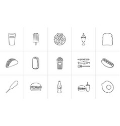 Food and drink hand drawn sketch icon set vector