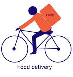 Food delivery guy on a bicycle vector