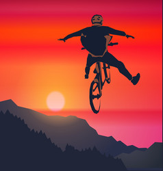 Freeride bicycle racer vector