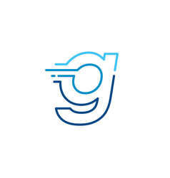G letter dash lowercase tech digital fast quick vector