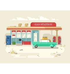 Gas stantion retro flat design vector image vector image