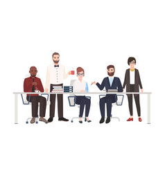 group office workers sitting at desk and vector image