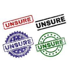 Grunge textured unsure seal stamps vector