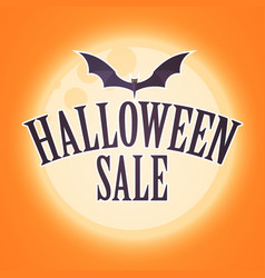 halloween sale design template with moon light and vector image