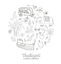 Hand drawn doodle Thailand travel set vector image