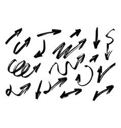 hand drawn grunge arrows set vector image