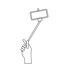 Hand holding a selfie stick icon outline style vector image