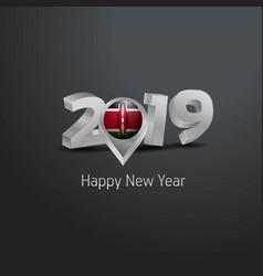 Happy new year 2019 grey typography with kenya vector