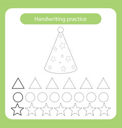 Hat cone kids toys theme handwriting practice vector