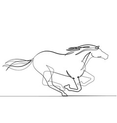 horse one continuous line graphic icon vector image