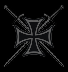Iron cross and two medieval knight crossed flame vector