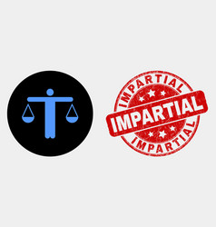 judge icon and distress impartial seal vector image
