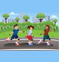 Kids rollerblading outdoor vector