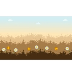 Landscape of spring with grass and flower vector