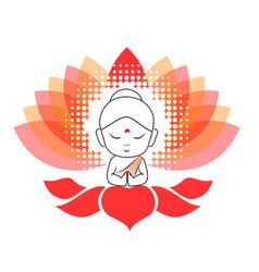 Little buddha meditating on a lotus flower vector