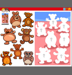 Matching shapes game with cartoon teddy bears vector