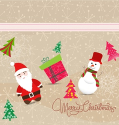 Merry christmas card with santa claus snowman and vector image