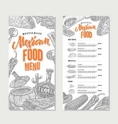mexican food restaurant menu template vector image vector image