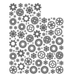mosaic map of utah state with gear wheels vector image