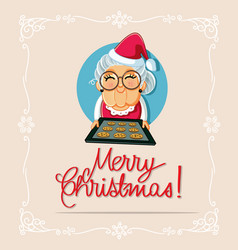 mrs claus celebrating with cookies vector image