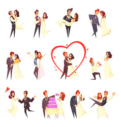 newlyweds cartoon set vector image
